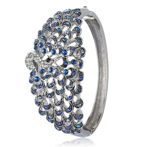 Gorgeous Peacock Design Cuff Bangle in Swarovski Crystals Elements. Beautiful Sapphire Blue Swarovski Crystals Elements in Silver Rhodium.Stunning Christmas Gift for Her.
