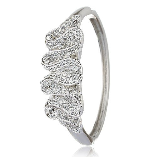 Contemporary Cuff Bangle, Stunning Swirl Wave Pattern showered in Swarovski Crystals Elements in 14K Gold or Silver Rhodium. Great Christmas Gift Idea for Her& Perfect Cocktail Dress Jewellery.