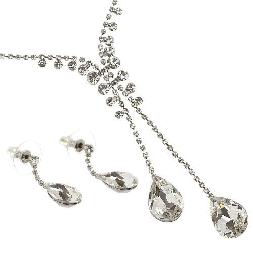 Swarovski crystals jewellery set, Twin Pear drop CZ crystals hang from two-tier chain of pure Swarovski crystals. So many crystals in a delicate formation of cup chains and filigree. 4 Colours - Clear, Gold, Turquoise & Rose on 14K Gold or Rhodium
