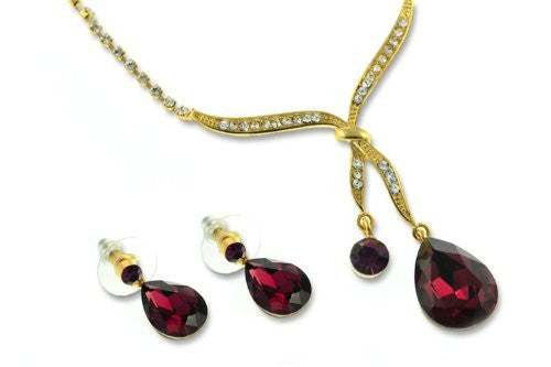 Love Knot Design Necklace & Earrings Set, Siam Red Pear Drop Czech Crystal Hangs from fine Swarovski Crystals Inlaid Knot. Delicate Cup Chain Set. Dangling Pear Drop Earrings Match.