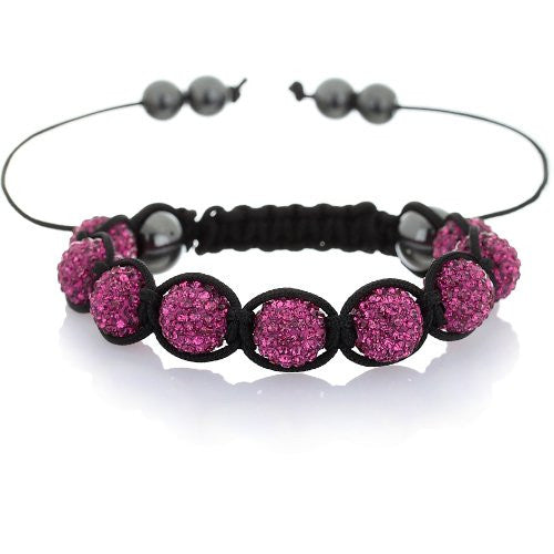 Shamballa Swarovski Octant Crystal Jewellery Beads Friendship Bracelet. Fabulous colours, Fuschia Pink and Topaz Yellow and Graphite Grey. Stunning, Great Christmas Gift for Her. Limited Stocks