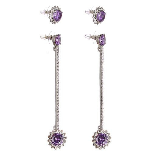 Long Floral Drop and Stud style Swarovski crystal Earrings. Available in Amethyst, Topaz and Clear on either 14K Gold or Silver Rhodium Plating.