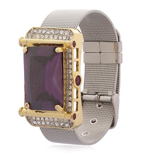 Swarovski Crystal Cuff Bracelet. Watch Strap style with rectangular crystal and Clear Swarovski Crystals