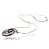 Silver Rhodium & Amethyst Swarovski Crystals Pendant Necklace. Elegant Moving Dial With Encrusted Crystals, Perfect Gift For her at a Great Price.