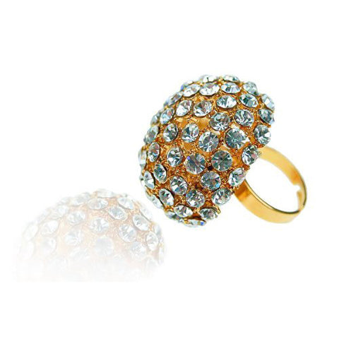 Large Swarovski Crystal Cocktail Ring in a mushroom dome shape and 14K Gold Plating, Adjustable Cocktail Rings