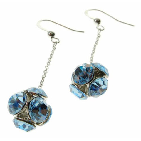 Drop Ball Swarovski Crystal Elements Dangling Earrings w/ Large Crystals Faceted on a Ball. Available in Rose Pink, Gold Ochre and Sapphire Blue. Stunning Christmas or Anniversary Gift Idea for Her. Amazing Sale Price in our Christmas Shop.