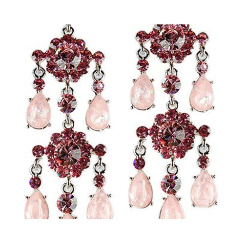 Large Bold & Long Chandelier Swarovski Crystal Earrings. Dramatic Symmetrical Style w/ Marbled Pear Drops & Large Cut Crystals.  2 Stunning Colour Combinations, Clear Diamond White on Silver Rhodium & Rose and Pink on Silver Rhodium.