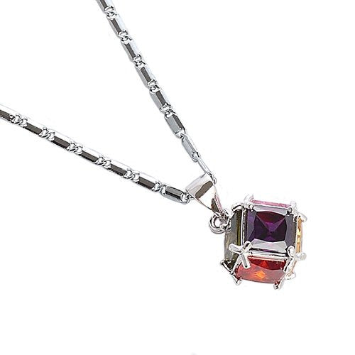 On Sale to Clear: Cubic Zircon Style Swarovski Cut CrystalLove CubeCasual Costume Jewellery Pendant Necklace on a Fine Delicate Chain. 5 Colours - Amethyst, Siam Red, Clear & Black, Champagne and Multi