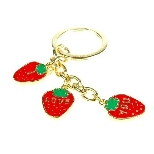 Great Christmas or Budget Gift Idea. Two Strawberry Key Rings Charm Jewellery, One Rhodium Plated Key Ring & One 14k Gold Plated Key Ring.