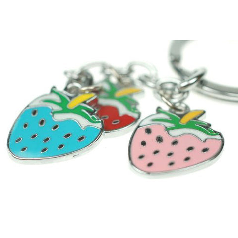Now £1.99, Great Christmas or Budget Gift Idea. Strawberry Key Ring Charm Jewellery, Rhodium Plated Strawberries in Red, Blue and Pink Colours.