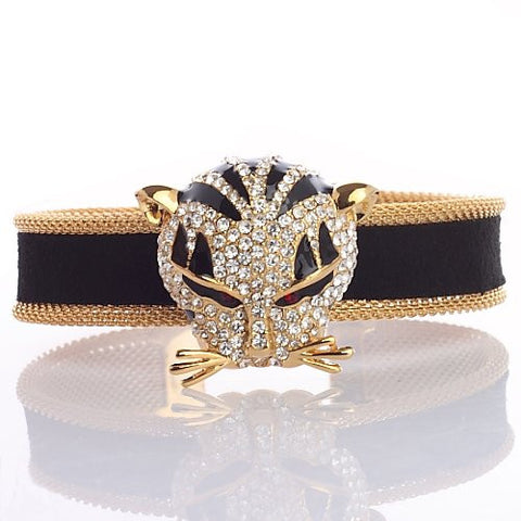 Distinguished Panther Cat Cuff Bracelet,Luxury Haute Couture Jewellery reminiscent of French Designer CART. With Stunning Swarovski Crystal Elements, 14K Gold or Silver Rhodium Plated. Its one of Our Finest Pieces and Unique Statement Jewellery Design.