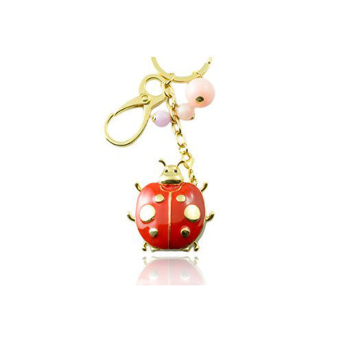 2GB USB Memory Stick Jewellery, Funky Unique Beetle CharmsDesign USB Key Ring with Red Enamel and Pink Beads on a 14k Gold Plated Base. Last few remaining, Perfect Christmas Gift Idea.