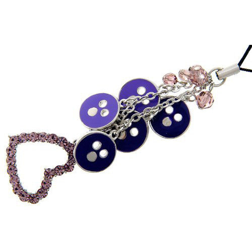 Great Christmas or Budget Gift Idea. Pink & Purple Heart Mobile & Bag Charm, Pink Swarovski Crystals Embedded in a Heart Shaped Rhodium Plated Setting with Purple Enamel Circles & Pink Beads