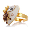 Heart and Flower Costume Jewelry Ring, Free Size Heart Shape Ring w/ Swarovski crystals. 14K Gold or Silver Rhodium plated.