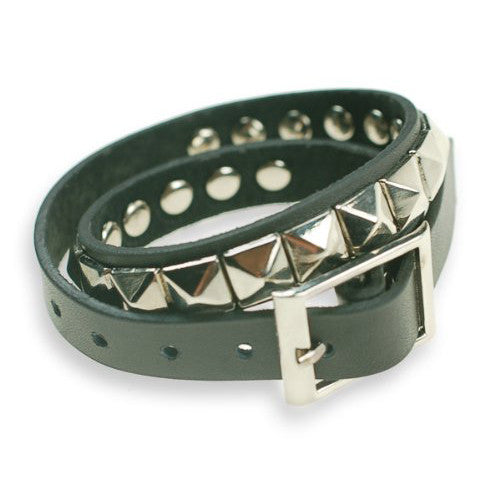 Mens Black Leather Tie Around Slim Wristband Bracelet Cuff, Silver Hexagonal Metal Studs. Watch StrapMens Black  Leather Tie Around Slim Wristband Bracelet Cuff, Silver Hexagonal Metal Studs. Watch Strap, Masculine Trendy Piece in Monochrome Black Silver.