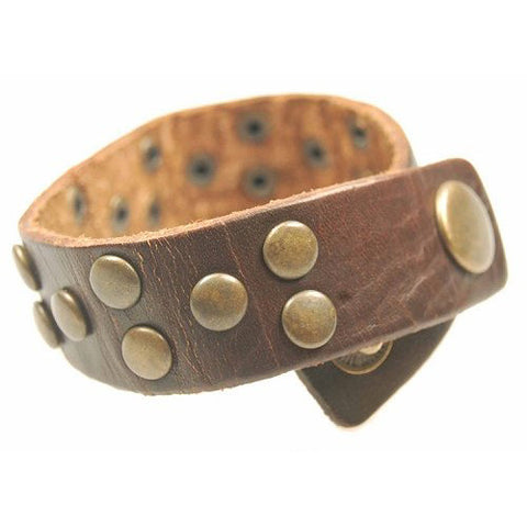 Dark Brown Genuine Leather Fully Studded Wristband Strap.