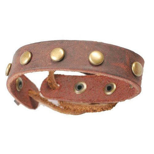 Mens Genuine Leather Slim Classic Cuff Wristband Bracelet with Brass Studs, Suede Back & Ties fasten.  Great Christmas Gift Idea for Him.