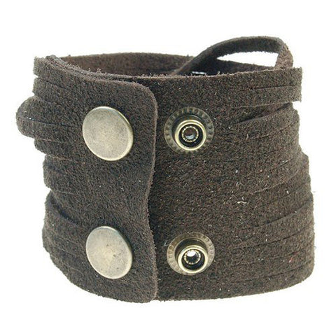 Mens Genuine Leather and Soft Suede Surfer Wristband Cuff bracelet w/ Adjustable Stud Snaps in Brown or Black