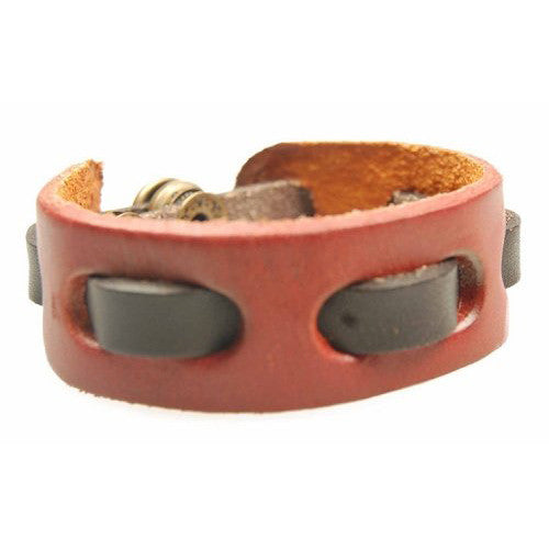 Red Adjustable Genuine Leather Wrist Strap With Solid Brown Leather Tape
