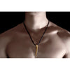 Men's Gold Plated Stainless Steel Tribal Pendant.Trendy Masculine Man Jewellery in a Distinctive Gold w/ Subtle Crystal Detail. Unique Christmas or Birthday Gift Idea at a Superb Price in our Christmas Shop