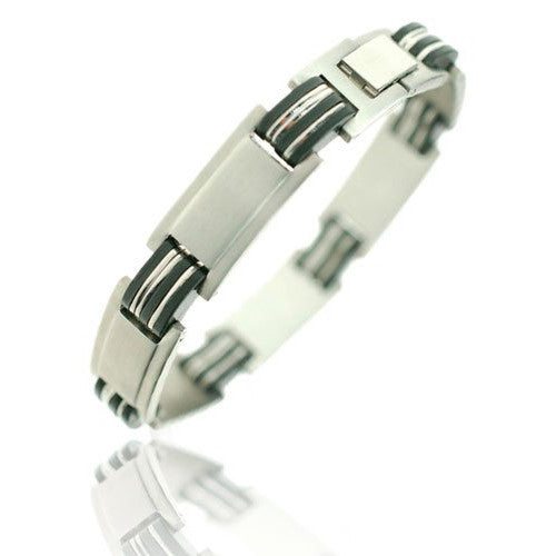 Mens Silver Stainless Steel Bangle Bracelet with alternating links of black rubber and brushed steel.