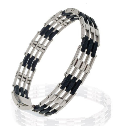 A slim Men's Silver Stainless Steel Links Bangle Bracelet with Black Rubber Links.