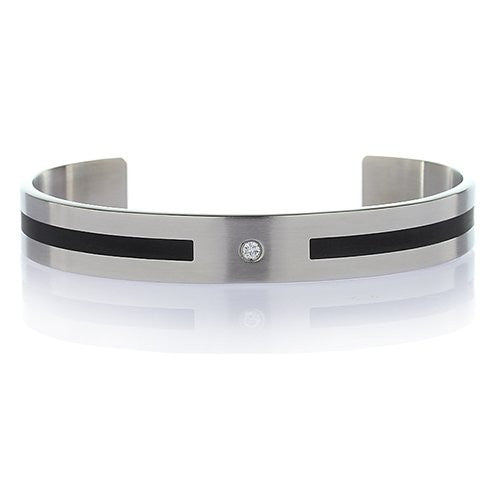 Men's Stainless Steel Silver Bangle Bracelet Cuff with Black Pattern and Single Crystal. Brushed Silver Finish.