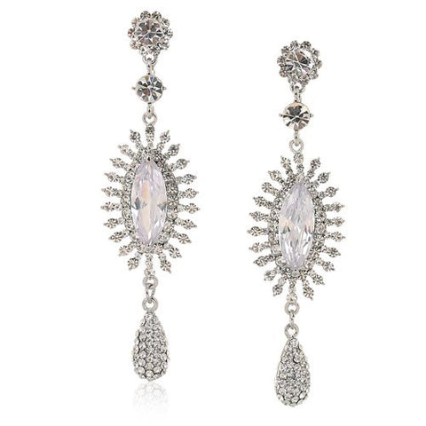 Large Drop Sun and Pear Drop Style Swarovski crystal Earrings. Available in Clear and Topaz on either 14K Gold or Silver  Rhodium Plating