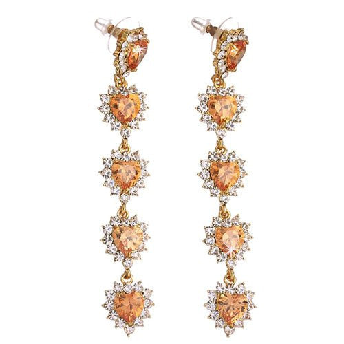 Long Heart Drop Style Swarovski crystal Earrings. Available in Red, Topaz and Clear on either 14K Gold or Silver Rhodium Plating