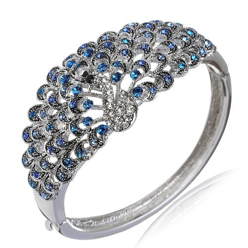 Gorgeous Peacock Design Cuff Bangle in Swarovski Crystals Elements. Beautiful Sapphire Blue Swarovski Crystals Elements in Silver Rhodium.Stunning Christmas Gift for Her. Prices Slashed in our Christmas Shop. Read the reviews!