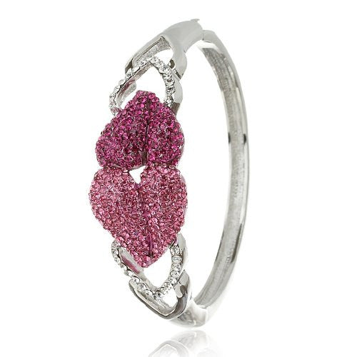 Love HeartsContemporary Bangle Cuff.A Perfect Gift for Love showered in Swarovski Crystals Elements. I Love You Jewellery for a Girlfriend or Wife. Turquoise, Fuchsia Pink, Jet Diamond, Amethyst & Topaz