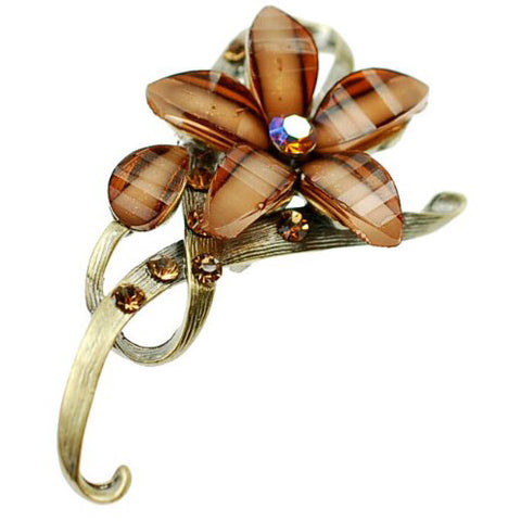 Flower Shaped Jewellery Brooch, Czech Crystal and Clear Gems on a Bow Shaped Brass Plated Stem.