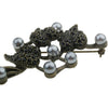 Floral Black Crystal Brooch, Jet Black Czech Crystals with Polished Pewter Pearls on a Brass Finished Frame