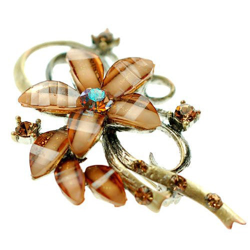 Flower Shaped Jewellery Brooch, Czech Crystal and Clear Gems on a Bow Shaped Brass Plated Stem. Great Gift For Under £15.