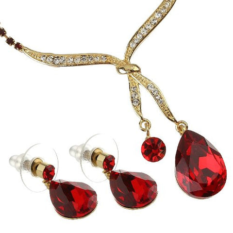 Love Knot Design Necklace & Earrings Set, Siam Red Pear Drop Czech Crystal Hangs from fine Swarovski Crystals Inlaid Knot.  Dangling Pear Drop Earrings Match. 14k Gold Plated Setting. Comes in 6 Colours