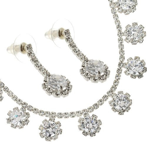 Garland Necklace and Earrings Jewellery Set, Swarovski & CZ Crystals Adorn the Rhodium Plated Cup Chain Necklace with Matching Earrings, 2 Colour Options.