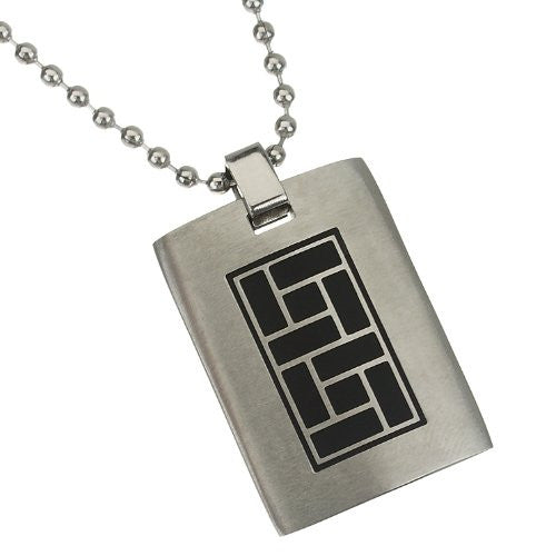 Mens Solid Tablet style Pendant jewellery in pure Stainless Steel. Beautiful Solid Pendant with graphic pattern in Black; Plain to engrave on flip if you wish. Solid stainless steel ball chain to match.