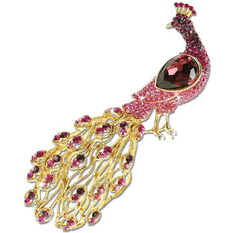 Royal Peacock Brooch Pin, Swarovski & Czech Haute Couture Style.