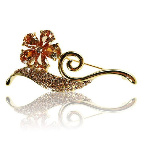 Paris Clover and Stem Brooch Pin, Art Deco Parisian Haute Couture Style w/ Swarovski & Czech Crystals, Precious Metal Plated.