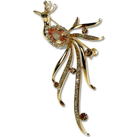 Royal Peacock Brooch Pin, Art Deco Haute Couture Style w/ Swarovski & Czech Crystals, 14k Gold or Rhodium Plated.