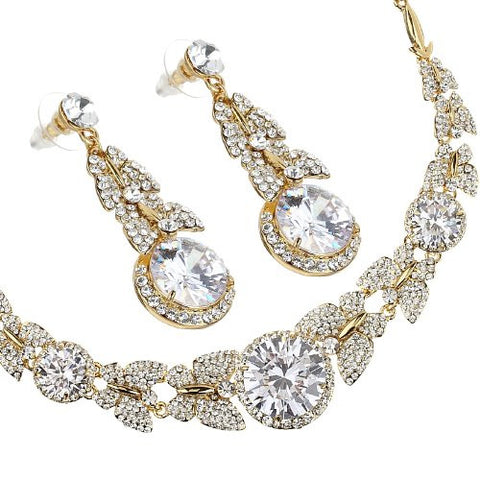 Butterfly Necklace & Earrings Jewellery Set. Finest Swarovski & Czech Crystals on a 14k Gold or Rhodium Plated Setting