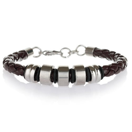 Men's Bracelet jewellery in pure Stainless Steel and plaited leather cord strap. Masculine, Trendy and a real Designer piece.