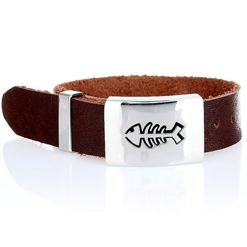 Trendy Cool Mens Watch Style Cuff Bracelet in Leather and Stainless Steel. Classy man jewellery at a great price under £20,  Gift for Him. Was £36.99, Now £19.99