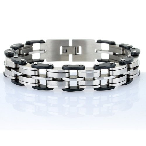Men's Bracelet, Chunky Masculine Style Links in Brushed & Gloss Stainless Steel with Tough Black Rubber Detail.Trendy Man Christmas or Birthday Gift Idea at a Superb Price in our Christmas Shop