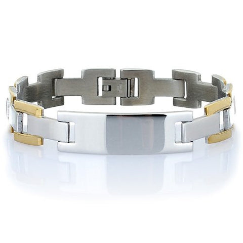 Great Gift Idea Men's Bracelet, Centre Name Plate, withGold and Silver Links in Brushed & Gloss Stainless Steel. Refined Masculine Jewellery.Trendy Man Christmas or Birthday Gift Idea at a Superb Price in our Christmas Shop