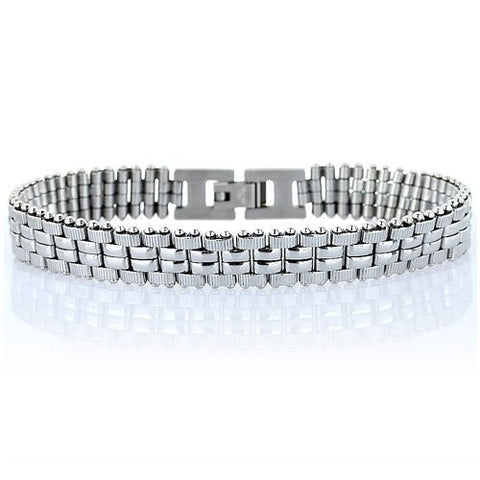 Stainless Steel Bracelet, Fine Links in All Brushed Silver or a 2 Toned Gold & Silver Options.  A Smart & Casual Style Men's in a Classic Design w/ Fine Detailing.Slim, Classy and Masculine Refined Jewellery.