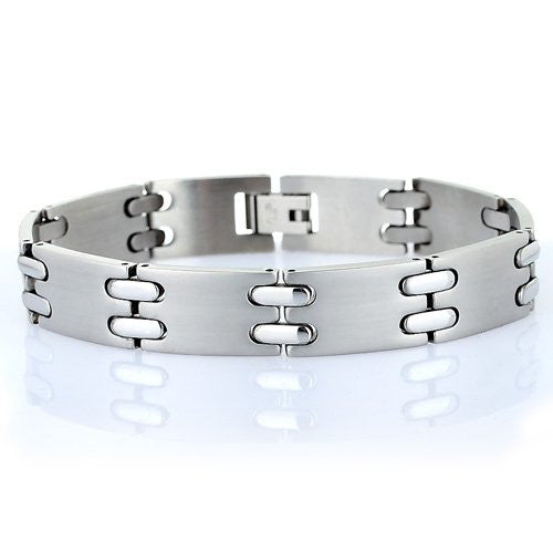 Men's Classic Links Matt Brushed Stainless Steel Bracelet. Man Jewellery, Timeless and One of Our Best Sellers.Trendy  Man Christmas or Birthday Gift Idea at a Superb Price in our Christmas Shop