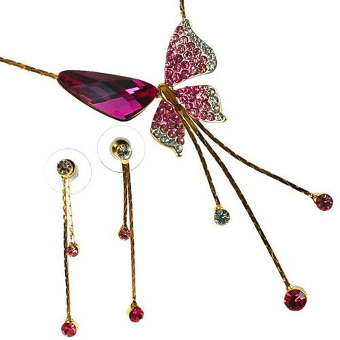 Pure Swarovski Crystallized Elements Butterfly Jewellery Set.Timeless Style, Minimal Design for Casual or Dress Attire. Clear Diamond, Sapphire Blue, Amethyst or Fuchsia Pink on 14K Gold or Silver Rhodium.