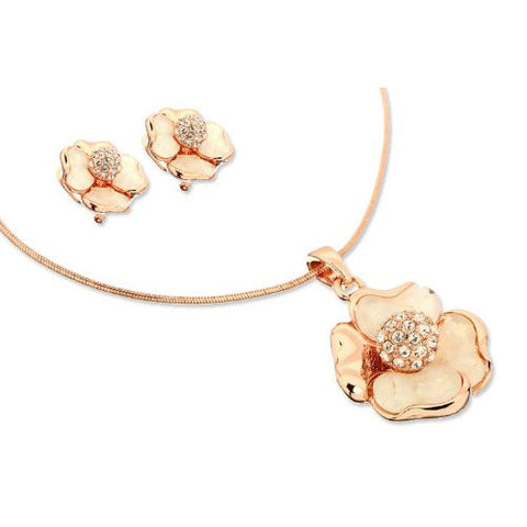 Flower Mother of Pearl & Swarovski Crystals Jewellery Set. 14K Rose Gold Plated Pendant with a Swarovski Crystal Inlaid Ball and Matching Earrings.