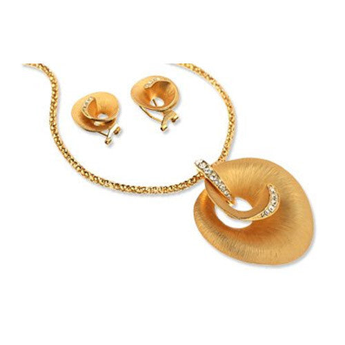 14K Gold / Silver Rhodium Plated Shell Jewellery Set w/ Inlaid Swarovski Crystals. Pendant is attached via Crystal Inlaid Hoop, Necklace & Matching Earrings.